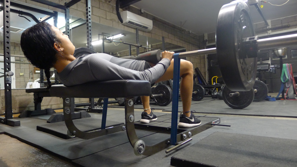 Barbell plus band hip thrust