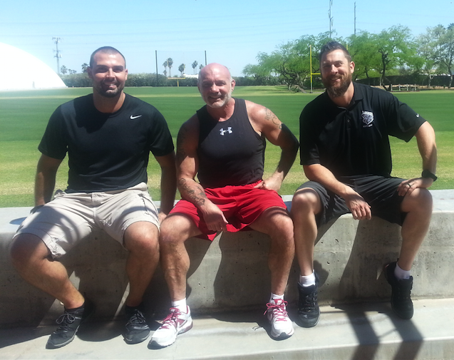 Bert Sorin and I hanging out with legendary strength coach Buddy Morris