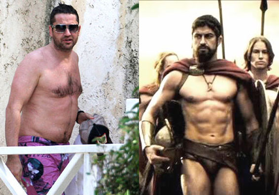 Gerard Butler probably stayed the same weight during this transformation