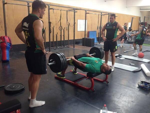 Northampton Saints training on a Hip Thruster