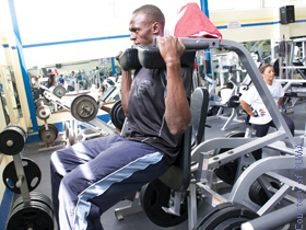 Here's Usain opting for machine squats