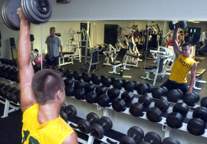 Athletes take part in strength and conditioning camp