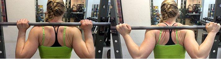 Left: high bar, Right: low bar