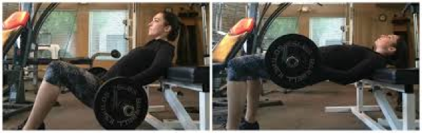 Do you see how she has a low back arch in the initial stage of the lift (apt)? She is moving her pelvis from an anterior pelvic tilt to a posterior pelvic tilt. In an ideal hip thrust, her feet would be a bit closer to her butt (for maximal glute activation, it shortens the hamstrings) and she would be using 5 aerobic steppers for a better range of motion. It is also important to remember to squeeze the glutes and lock out during each rep