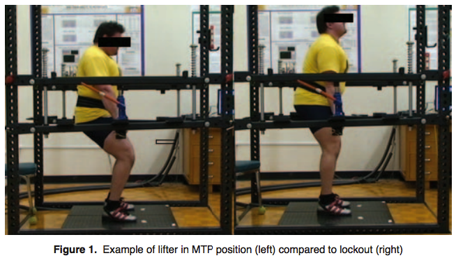 This image shows the differences in position between an iMTP and a deadlift lockout, courtesy of THIS study.